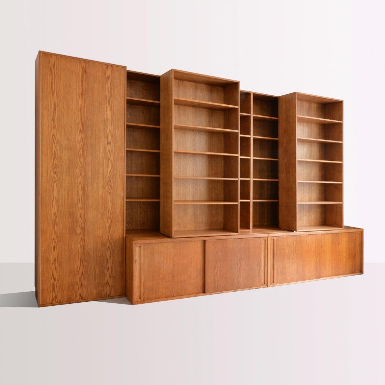 Custom Made Wooden Bookshelf With Sliding Shelves Handcrafted In Germany 2018