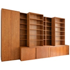 Custom Made, Wooden Bookshelf with Sliding Shelves, Handcrafted in Germany, 2018