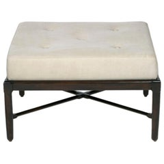 Custom Made X-Base Dark Espresso Ottoman or Bench of a Mid-Century Modern Design