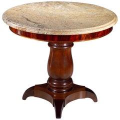 Custom Mahogany Side Table with Italian Marble Top