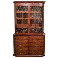 Custom Mahogany Ten Drawer China Cabinet / Bookcase for Beacon Hill by Kaplan