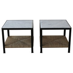 Custom Marble and Rush Steel Framed End Tables, Sold as a Pair