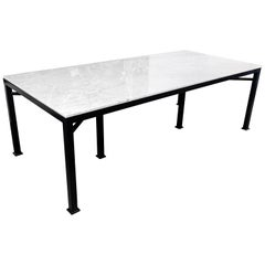 Custom Metal and Carrara Marble Dining Table