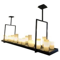 Custom Metal and Handblown Candles Pendant Light Fixture