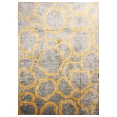 Custom Metallic 'Bubbles' Gold and Gray Matka Silk Rug