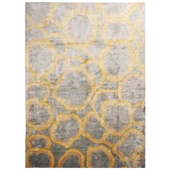 "Custom Metallic ""Bubbles"" Gold and Gray Matka Silk Rug"
