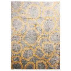 "Custom Metallic ""Bubbles"" Gold and Gray Matka Silk Rug"