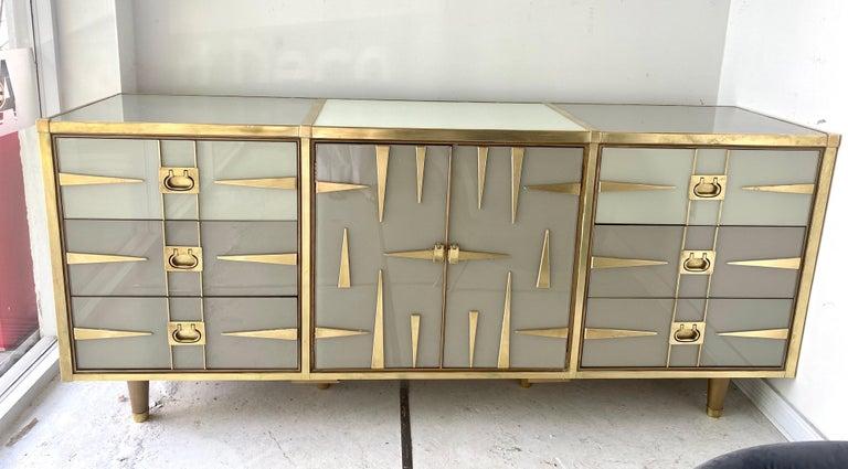 Custom Mid-Century Modern Italian Glass and Brass Chest of Drawers 5