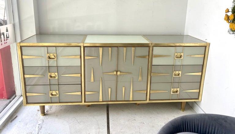 Custom Mid-Century Modern Italian Glass and Brass Chest of Drawers 10