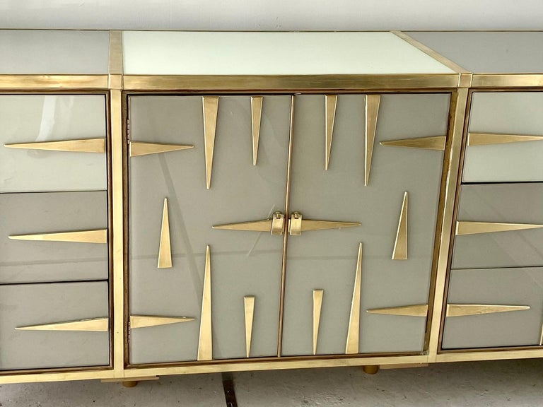 Custom Mid-Century Modern Italian Glass and Brass Chest of Drawers 13