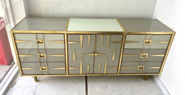 Hand-Painted Custom Mid-Century Modern Italian Glass and Brass Chest of Drawers