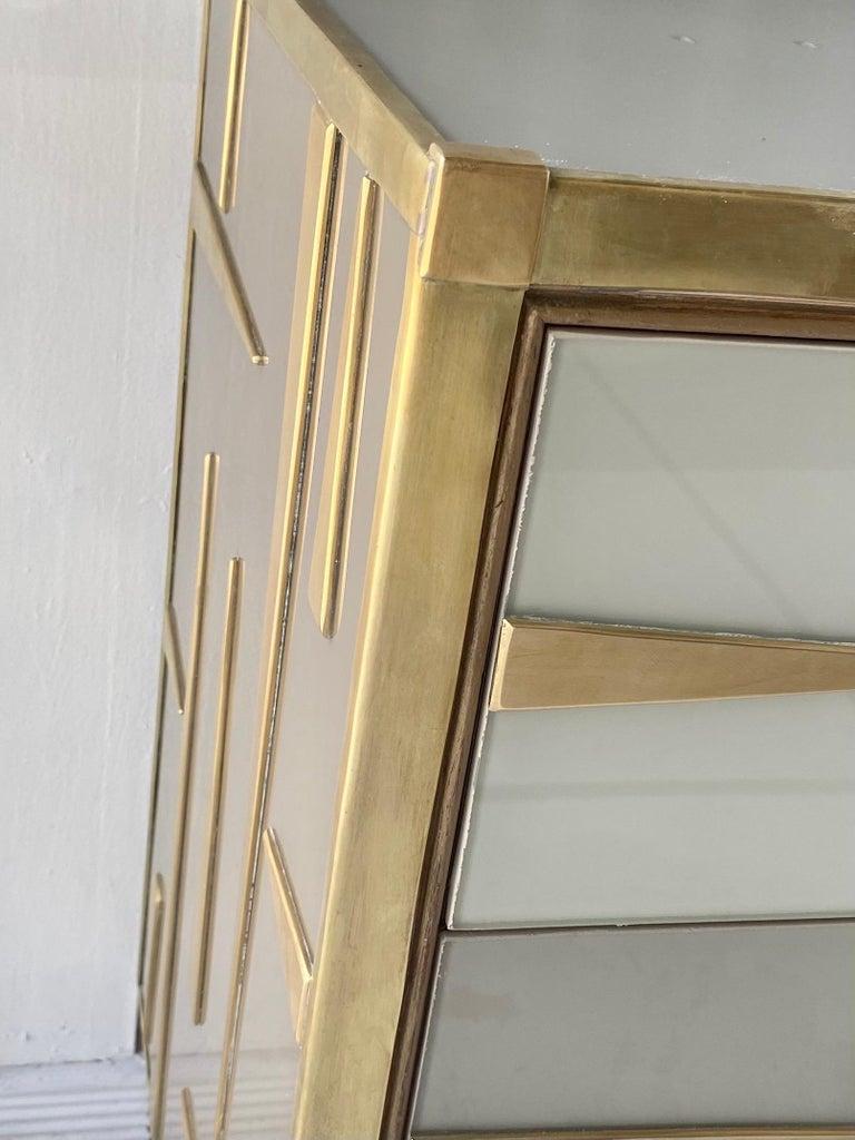 Custom Mid-Century Modern Italian Glass and Brass Chest of Drawers 3