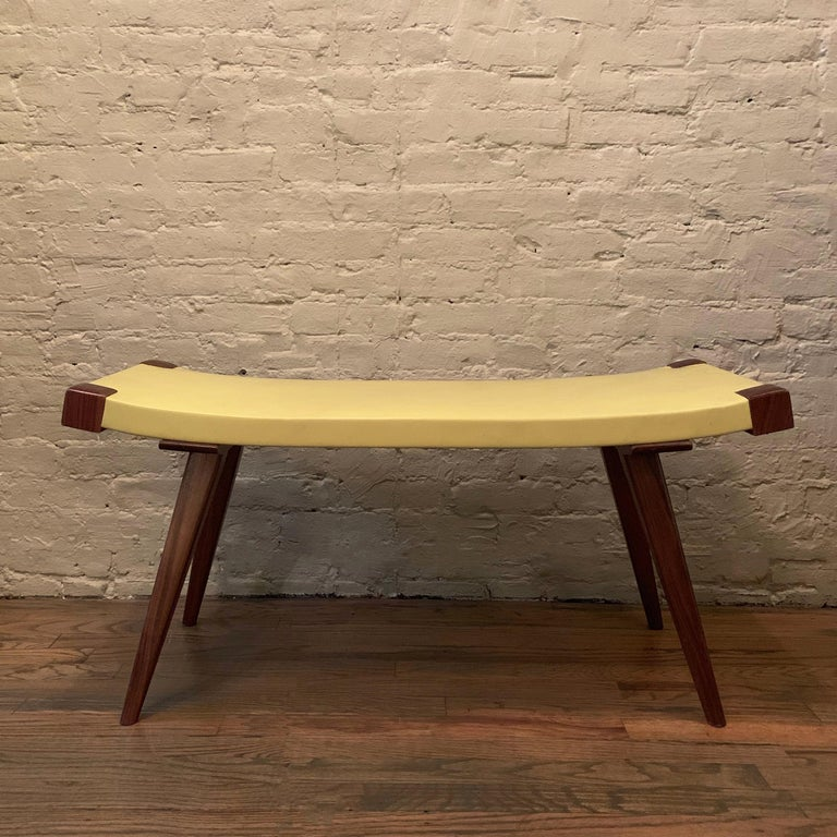 American Custom Mid-Century Modern Style Leather Bench For Sale