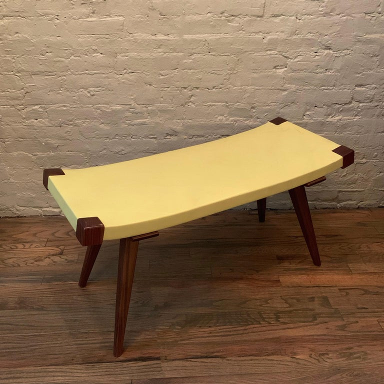 Custom Mid-Century Modern Style Leather Bench For Sale 1