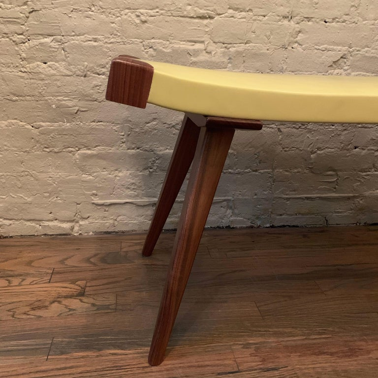 Custom Mid-Century Modern Style Leather Bench For Sale 3