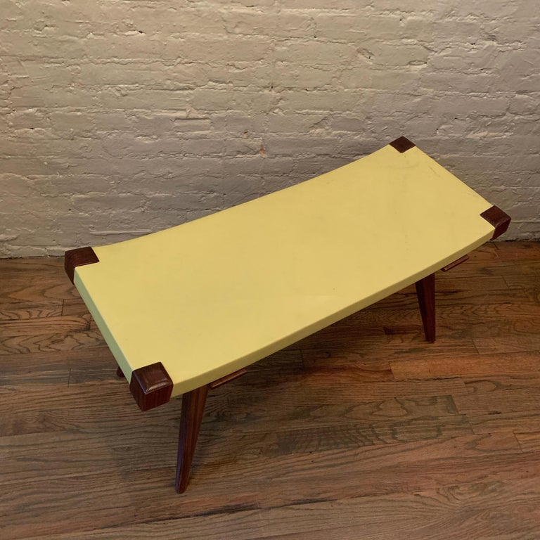 Custom Mid-Century Modern Style Leather Bench For Sale 4