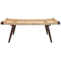 Custom Mid-Century Modern Style Rattan Bench