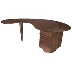 Custom Midcentury Style Curved Walnut Desk by Adesso Imports