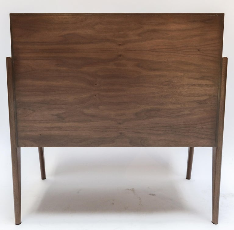 Custom Midcentury Style Walnut Nightstands with Three Drawers by Adesso Imports For Sale 4