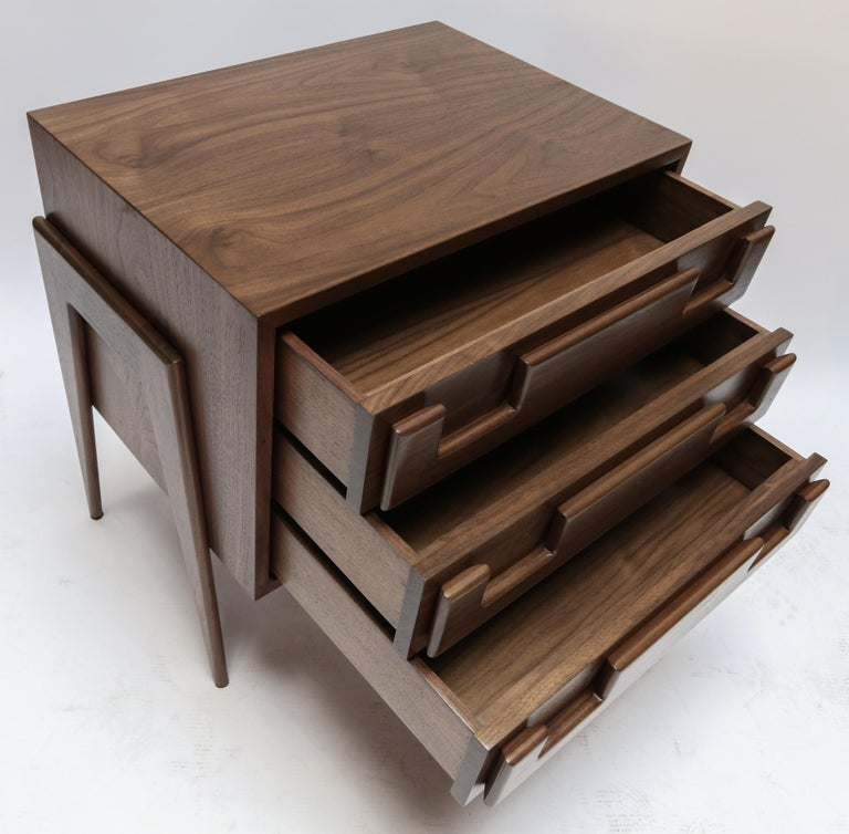 Custom Midcentury Style Walnut Nightstands with Three Drawers by Adesso Imports For Sale 5