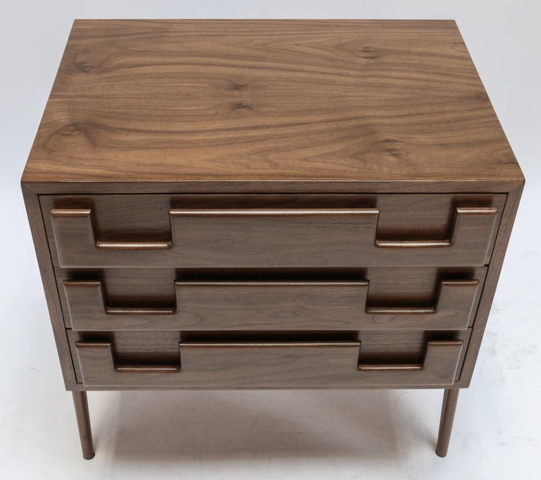 Contemporary Custom Midcentury Style Walnut Nightstands with Three Drawers by Adesso Imports For Sale