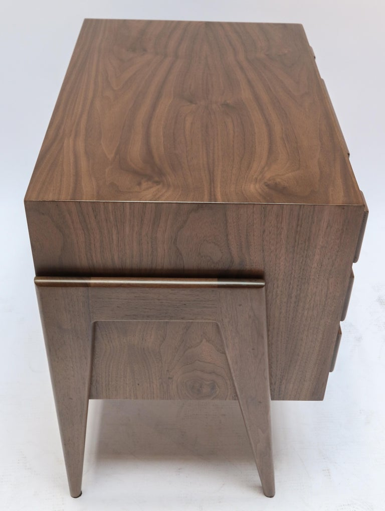 Custom Midcentury Style Walnut Nightstands with Three Drawers by Adesso Imports For Sale 1
