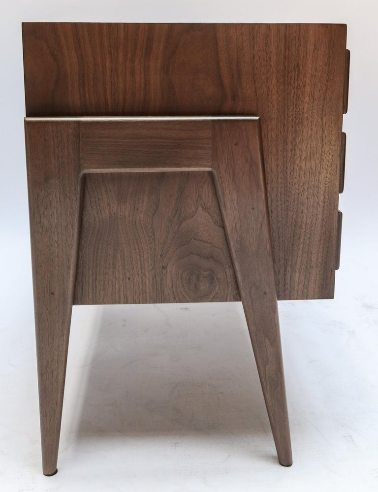 Custom Midcentury Style Walnut Nightstands with Three Drawers by Adesso Imports For Sale 2