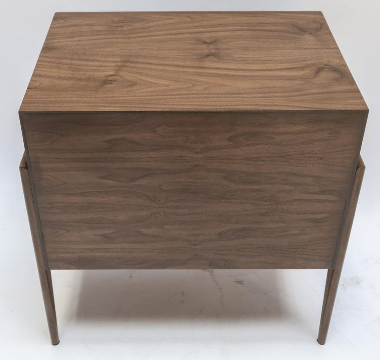 Custom Midcentury Style Walnut Nightstands with Three Drawers by Adesso Imports For Sale 3