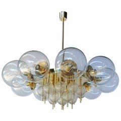 Custom Midcentury Style Brass Chandelier with Clear Glass Balls by Adesso Import