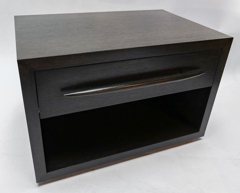 Custom Midcentury Style Dark Oak Nightstand by Adesso Imports For Sale 4