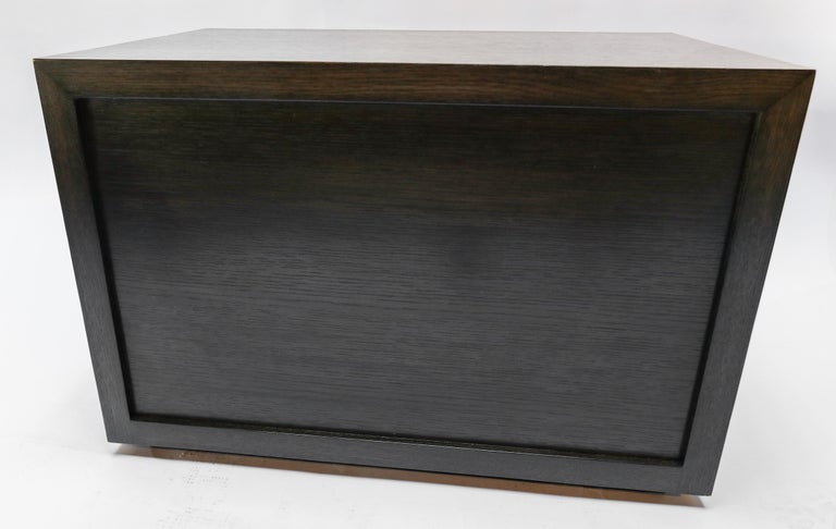 Custom Midcentury Style Dark Oak Nightstand by Adesso Imports For Sale 5