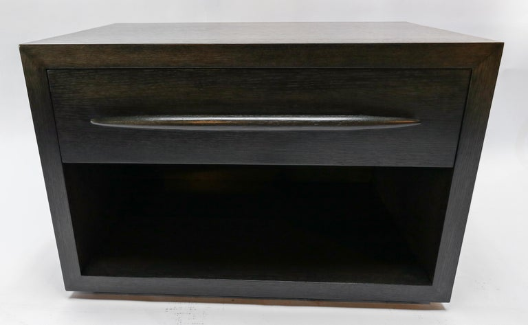Custom Midcentury Style Dark Oak Nightstand by Adesso Imports For Sale 6