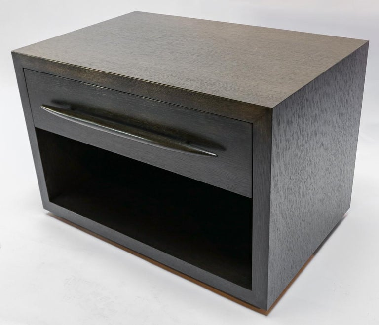 Custom midcentury style oak nightstand with dark brown almost black finish with one drawer and decorative pull by Adesso Imports. Can be done in different sizes, wood and colors.