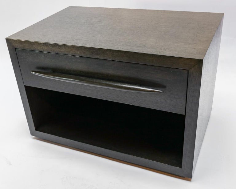 Mid-Century Modern Custom Midcentury Style Dark Oak Nightstand by Adesso Imports For Sale