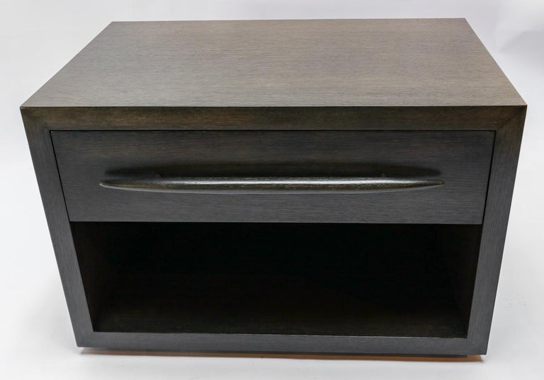 American Custom Midcentury Style Dark Oak Nightstand by Adesso Imports For Sale