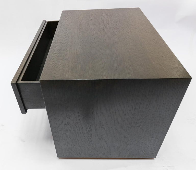 Custom Midcentury Style Dark Oak Nightstand by Adesso Imports In New Condition For Sale In Los Angeles, CA