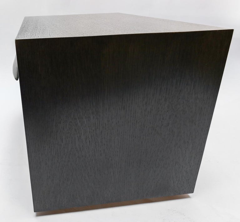 Contemporary Custom Midcentury Style Dark Oak Nightstand by Adesso Imports For Sale
