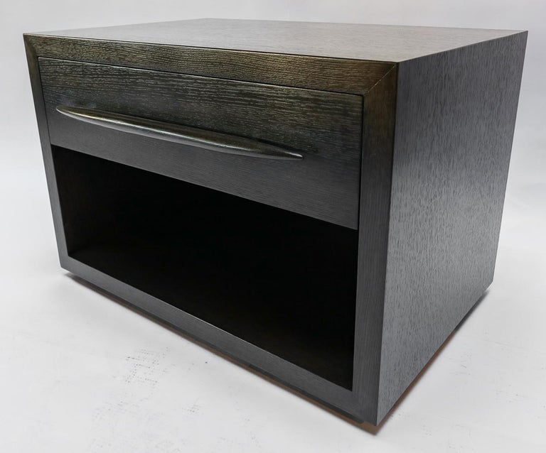 Custom Midcentury Style Dark Oak Nightstand by Adesso Imports For Sale 2