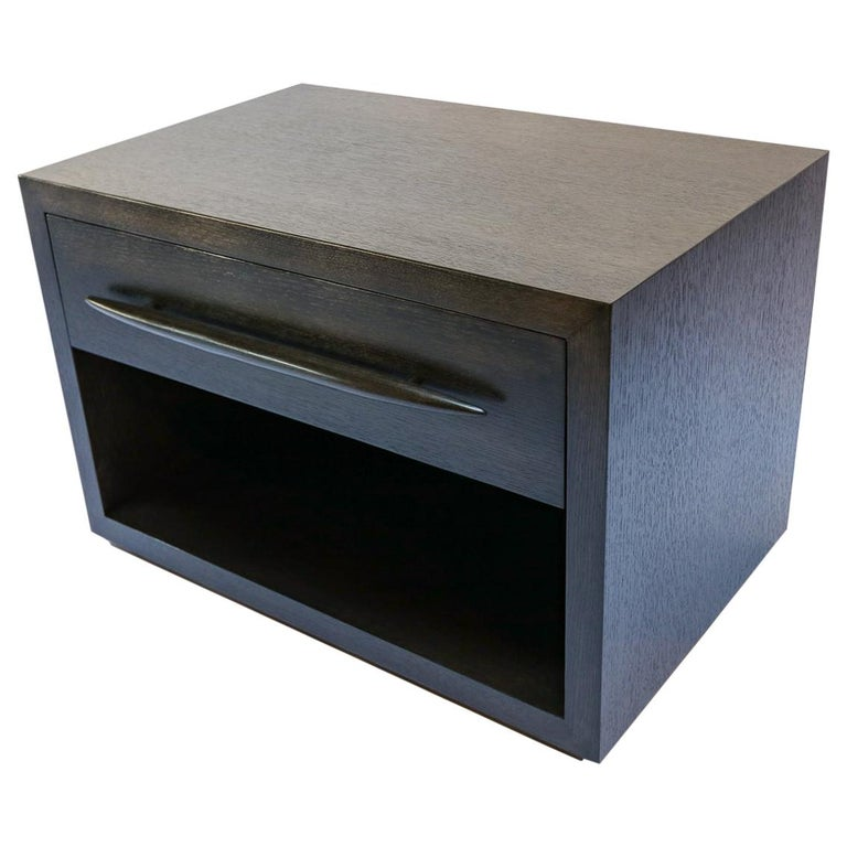 Custom Midcentury Style Dark Oak Nightstand by Adesso Imports For Sale