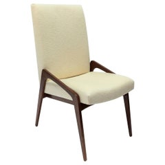 Custom Midcentury Style Walnut Dining Chairs in Ivory Linen by Adesso Imports