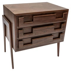Custom Midcentury Style Walnut Nightstands with Three Drawers by Adesso Imports