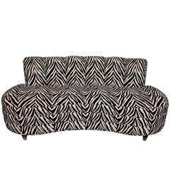 Custom Midcentury Zebra Pattern Sofa