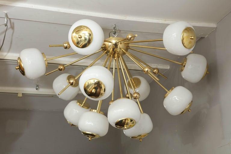 Custom milk glass globe Sputnik chandelier.