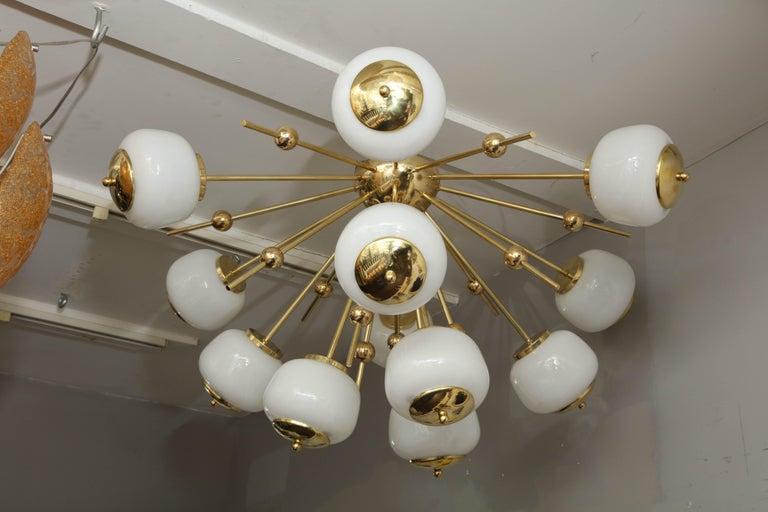 Mid-Century Modern Custom Milk Glass Globe Sputnik Chandelier For Sale