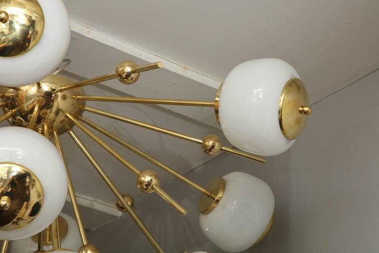 Italian Custom Milk Glass Globe Sputnik Chandelier For Sale