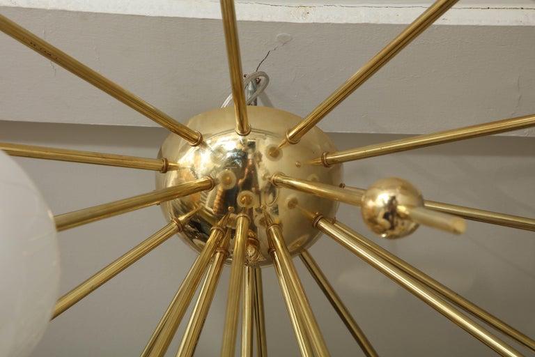 Custom Milk Glass Globe Sputnik Chandelier In New Condition For Sale In New York, NY
