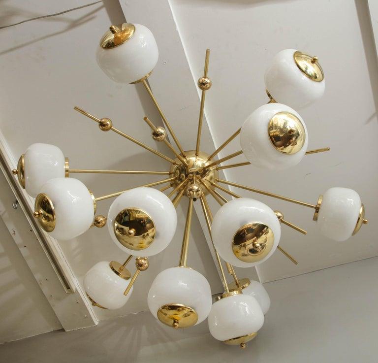 Brass Custom Milk Glass Globe Sputnik Chandelier For Sale