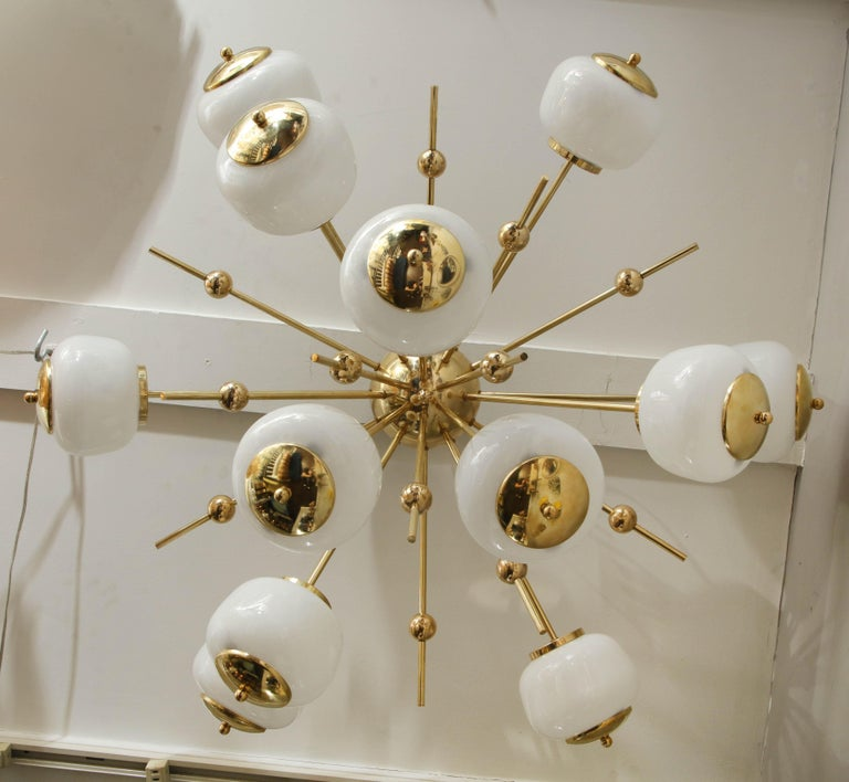 Custom Milk Glass Globe Sputnik Chandelier For Sale 1