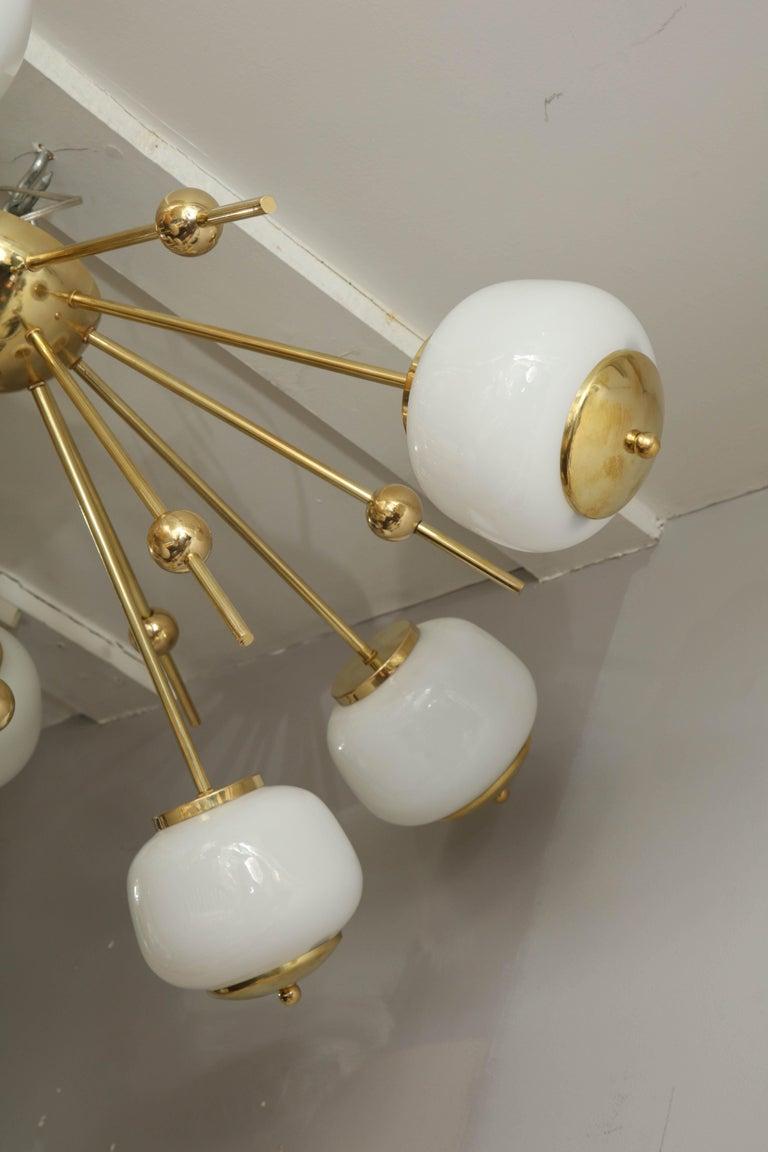 Custom Milk Glass Globe Sputnik Chandelier For Sale 2