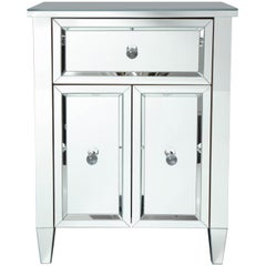 2-Door Mirrored Nightstand with Single Drawer